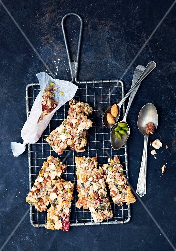 Nut bars with candied fruit