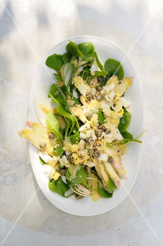 Asparagus carpaccio with purslane