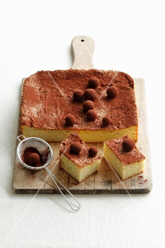 Tray bake potato cake with marzipan balls