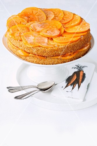 Carrot cake with peanuts and sharon fruits