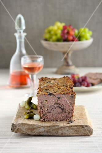 Game terrine with mushrooms and port wine