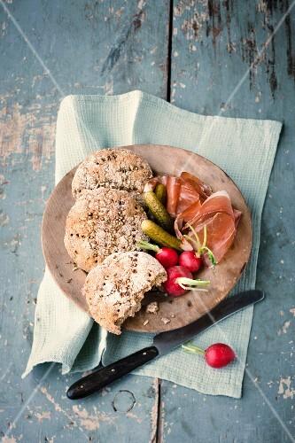 Vinschgauer bread, ham, gherkins and radishes for supper
