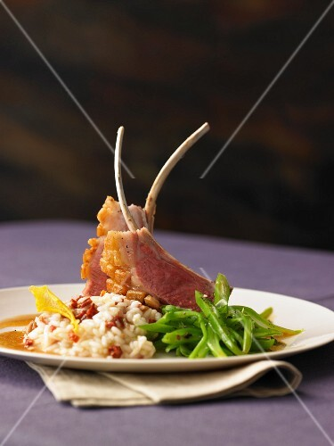 Rack of lamb with a lemon risotto