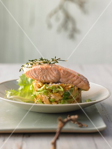 Confit of salmon with mashed chicory and apples
