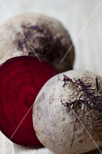 Beetroots, whole and halved
