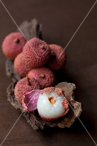 Lychees, whole and halved