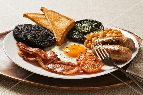 English breakfast with black pudding and a fried egg