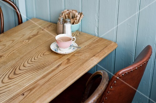 A cup of tea in a cafe