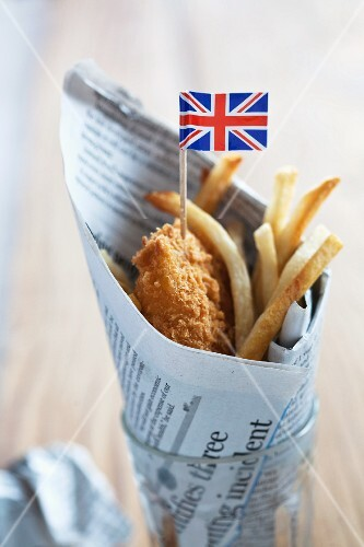 Fish and chips with a Union Jack