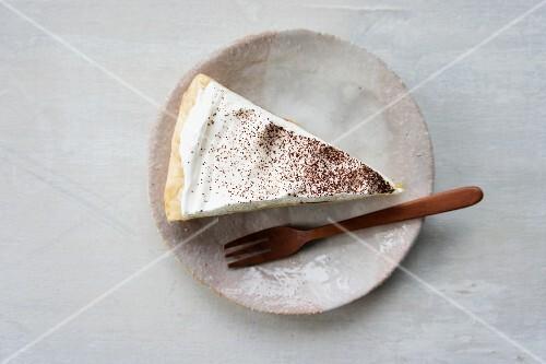 A piece of banana cream pie