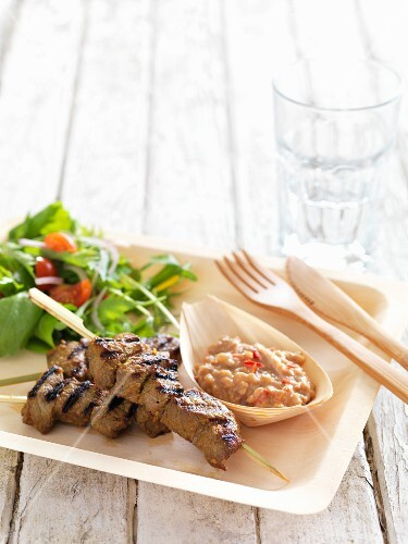 Grilled beef kebabs with sate sauce