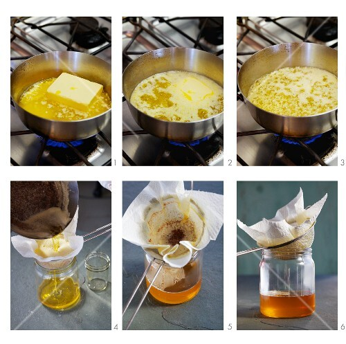 Clarified butter (ghee) being made
