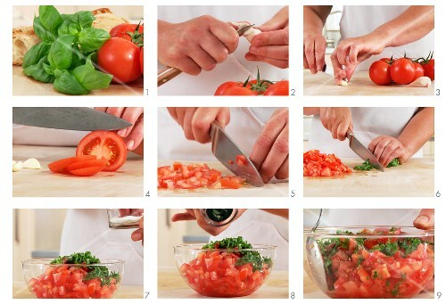 Tomatoes and basil for bruschetta being prepared
