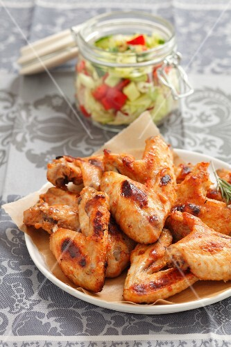 Chicken wings with a side salad