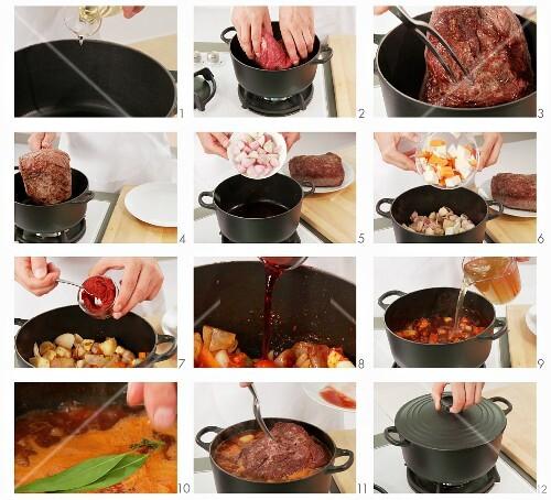 Braised beef being prepared