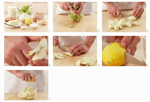 Pears being prepared for a cake