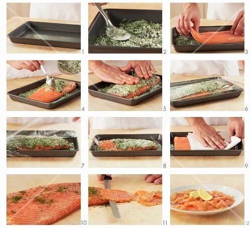 Marinating salmon