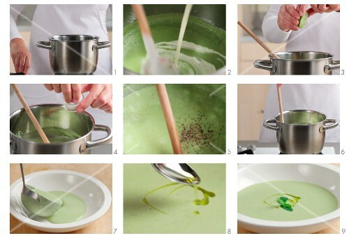 Cream of pea soup being seasoned