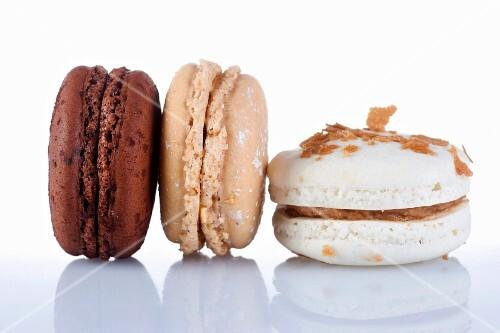 Three different chocolate macaroons