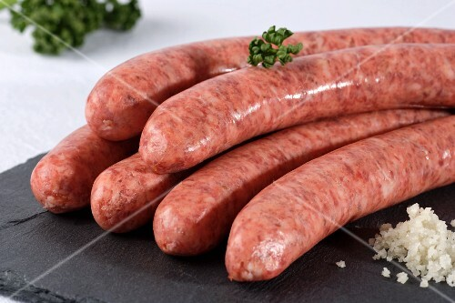 Raw pork sausages