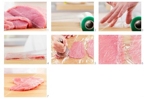 Veal escalope being tenderized