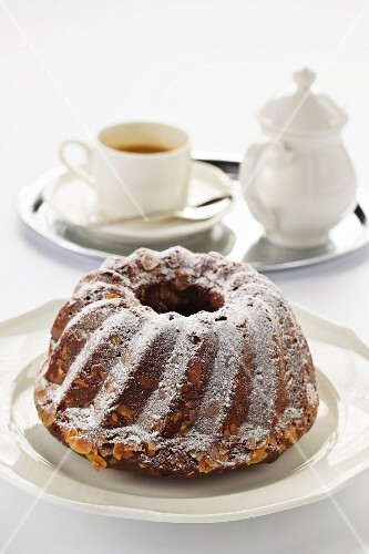 Chocolate and almond Bundt cake and coffee