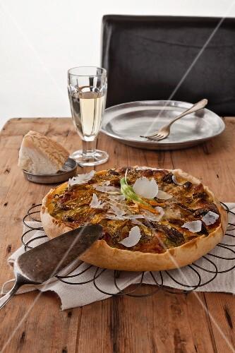 Courgette cake with parma ham and mozzarella
