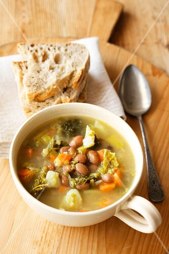 Rustic vegetable soup with beans