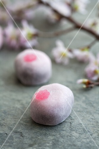 Mochi (Japanese rice cake) with cherry blossoms