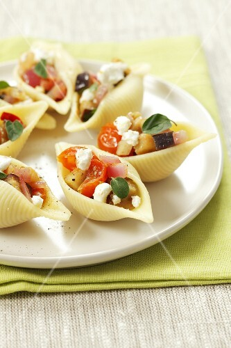 Conchiglie ripiene (pasta shells filled with aubergine and sheep's cheese)