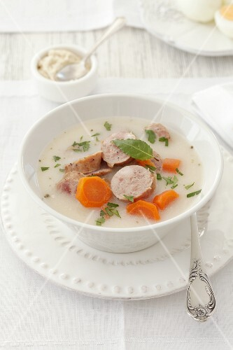 A simple soup with sausages and vegetables