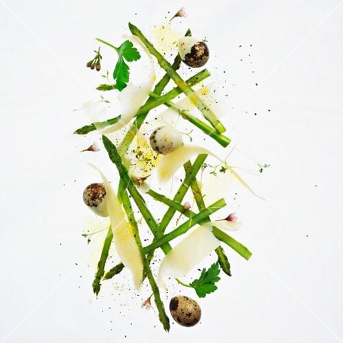 Asparagus salad with quail's eggs and Parmesan cheese