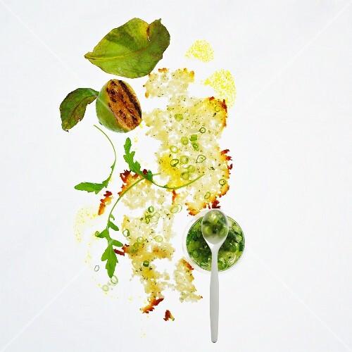 Haloumi bread salad with spring onion pesto and rocket