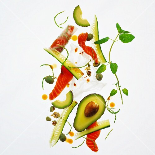 Avocado salad with smoked salmon and cucumber