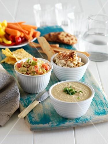 Various dips and vegetable crudités