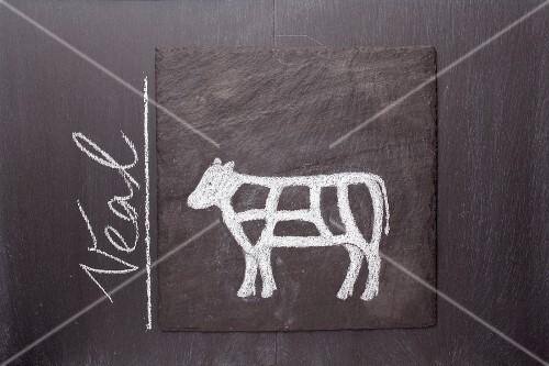 A sketch of a calf on a chalkboard