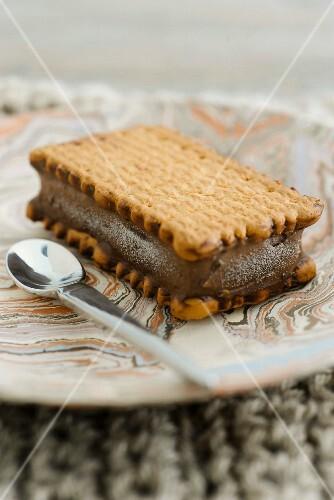 A chocolate ice cream sandwich