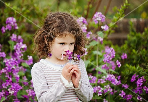 A little girl smelling flowers in a garden