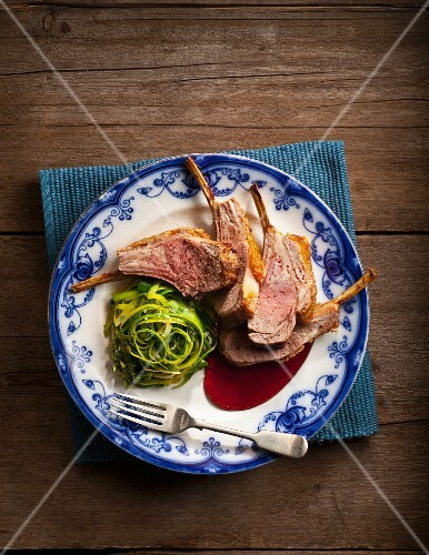 Lamb chops with a leek medley and a mead sauce