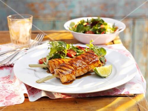 Salmon kebabs with a teriyaki marinade