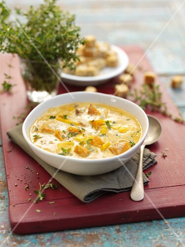 Sweetcorn and butternut squash soup