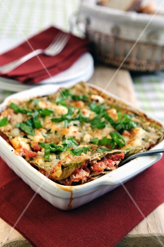 Lasagne with ricotta and tomatoes