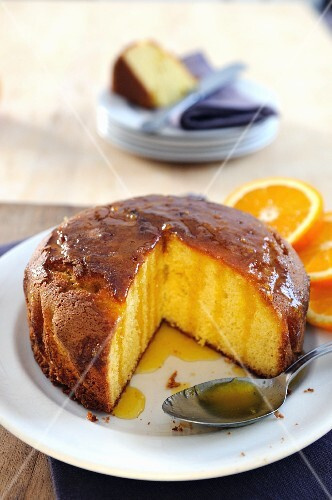 Semolina cake with orange syrup, sliced