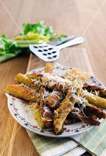 Fried celery with a Parmesan crust