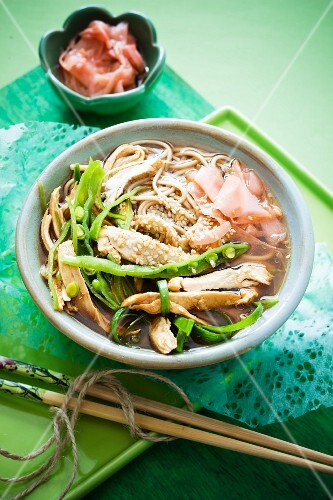 Chicken soup with soba noodles and pickled ginger