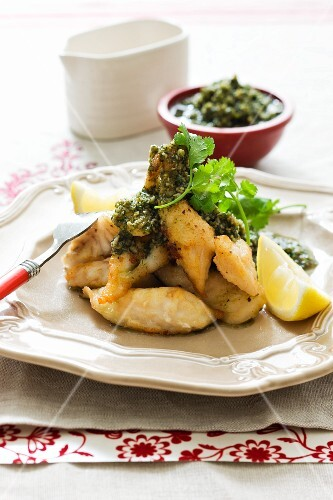 Backed fish with coriander pesto