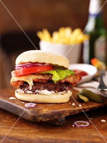 A bacon cheese burger