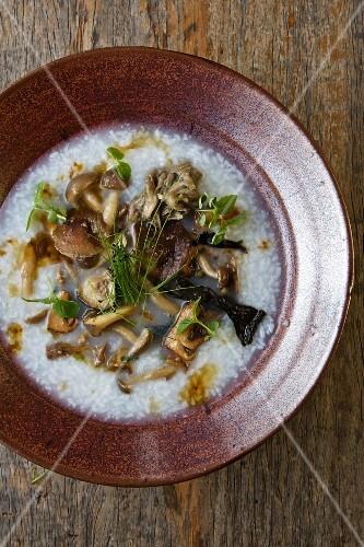 Bowl of Juk; Korean Rice Porridge with Wild Mushrooms