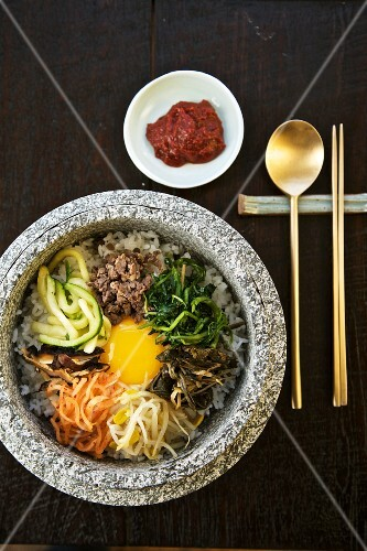 Bibimbap; Korean Dish; From Above; Spoon and Chopsticks