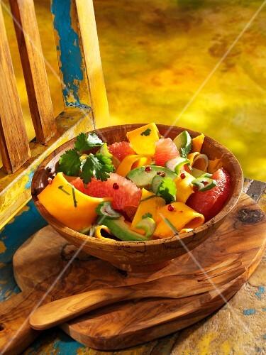 Pumpkin salad with avocado and grapefruit